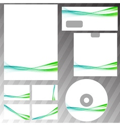 Green swoosh liquid wave stationery set template vector
