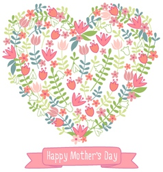 Happy mothers day floral heart vector