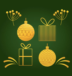 happy new year 2021 golden decoration balls gifts vector image