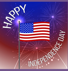 independence day background with american flag and vector image