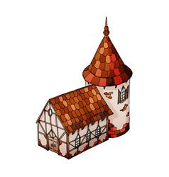 Isometric house old european house vector