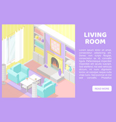 Isometric low poly cutaway interior vector
