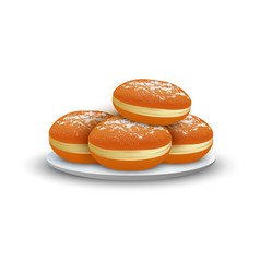 Jewish bakery on plate icon realistic style vector
