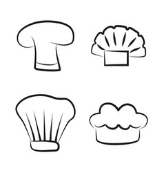 kitchen caps set headwear item for baker chef cook vector image