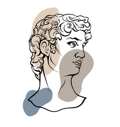 Line art head david michelangelo 2 vector