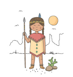 little girl dressed as native american indian vector image