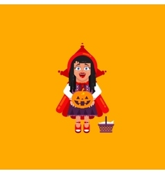 Little red riding hood character for halloween in vector