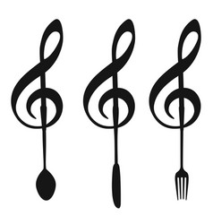 Music note with fork knife spoon symbol vector