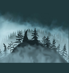 mysterious hill with pines spruces grass covered vector image