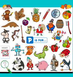 P is for educational game for children vector