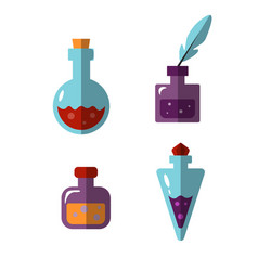 potion bottles icons witch magic elixir vector image