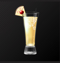 Realistic cocktail pina colada glass vector