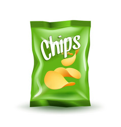 Realistic mockup package of green chips package vector
