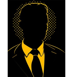 Retro Comic Business Man Silhouette vector image