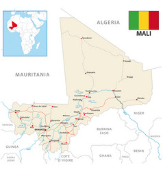 road map republic mali with flag vector image
