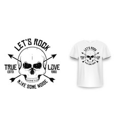 Rock and roll t-shirt graphic design with skull vector
