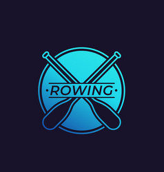 Rowing logo with oars paddles vector