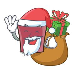 santa with gift hot chocolate mascot cartoon vector image