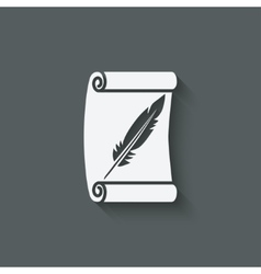 Scroll and feather writing symbol vector