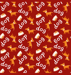 seamless background happy dog with bowl vector image
