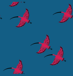seamless pattern with ibis birds vector image