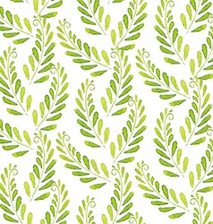 Seamless Patterns with watercolor leaves vector image
