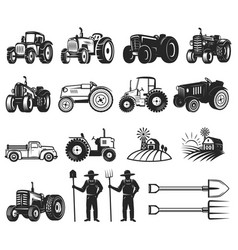 Set of farmers market design elements tractor vector