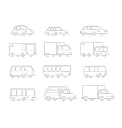 set of line drawing different cartoon transparent vector image