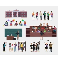 Set of Student Education vector