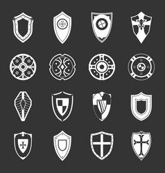 shields set grey vector image