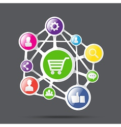Shopping cart with social network icon connection vector