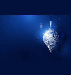 silver christmas ball hanging element low poly vector image