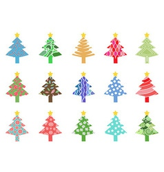 simple color xmas tree icon vector image