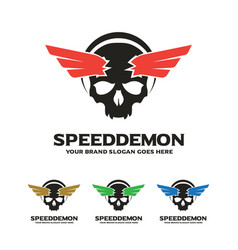 skull wing logo speed demon logo vector image