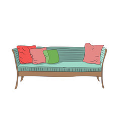 sofa with pillows vector image