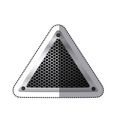 sticker triangular metallic frame with grill vector image