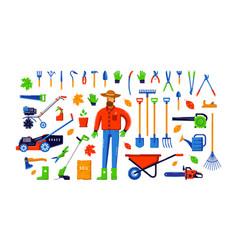 stock garden tool kit and gardener vector image