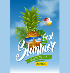 Summer concept with pineapple in sunglasses vector