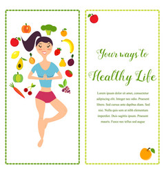 The girl and fresh fruits and vector