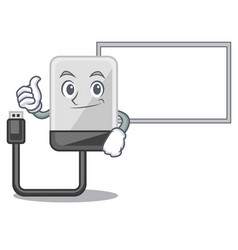 thumbs up with board hard drive in shape of mascot vector image