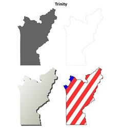 Trinity county california outline map set vector