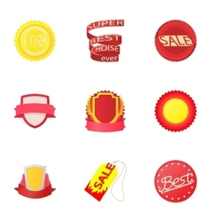 Types tag icons set cartoon style vector image