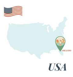Usa map with orlando pin travel concept vector