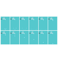 Water tap dripping animation sprite sheet on blue vector