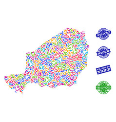 Welcome collage of mosaic map of niger and grunge vector