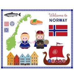 Welcome to Norway scandinavian symbols set vector image