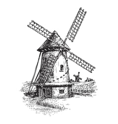 Windmill Hand drawn vintage sketch vector