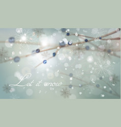 winter background with tree branch decorations vector image