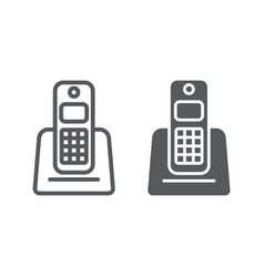 wireless telephone line and glyph icon appliance vector image