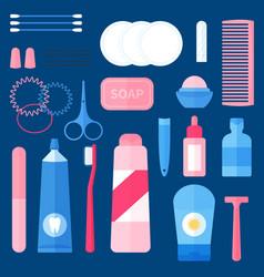 women toiletry kit bathroom essentials vector image